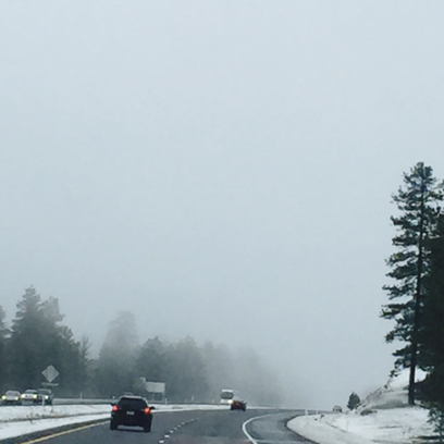 Snowy highway conditions on Interstate 17 on March