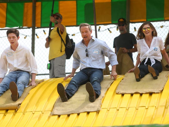 Democratic presidential candidate Martin O'Malley slides