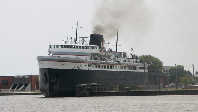 The carferry Badger at dock in Manitowoc, Wis., on July 3, 2015. It sails between Ludington and Manitowoc, crossing Lake Michigan.