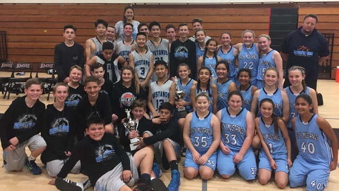 The Las Colinas Middle School boys and girls basketball teams both won the Ventura County Middle School League Championships with 17-0 records.