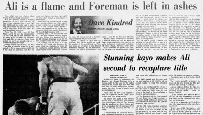 """The Courier-Journal sports coverage of the """"Rumble in the Jungle"""" in 1974."""