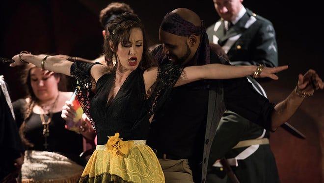 """Mexican mezzo-soprano Sishel Claverie portrays the title role in El Paso Opera's production of """"Carmen."""""""