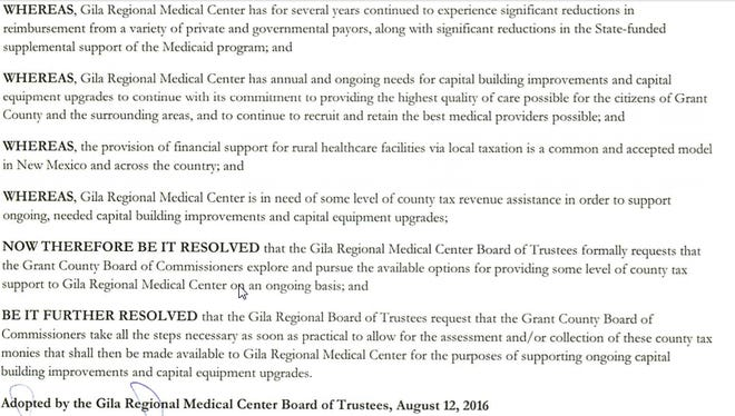 A copy of the resolution from Gila Regional Medical Center asking the Grant County Commission to approve of putting the 4-mill levy on the ballot.