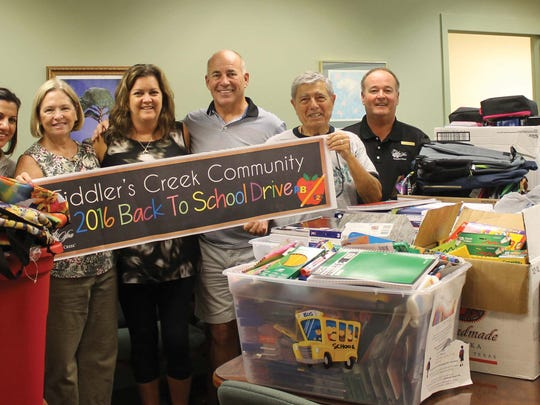 Fiddler's Creek residents recently donated back-to-school items for students starting the new year at Manatee Elementary.