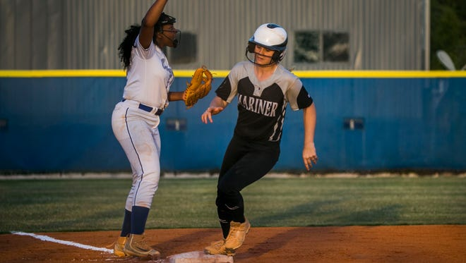 Mariner player Alayna Martin runs to home plate during the Class 6A regional quarterfinal against Barron Collier on Wednesday, May 2, 2018, at Barron Collier High School in Naples.
