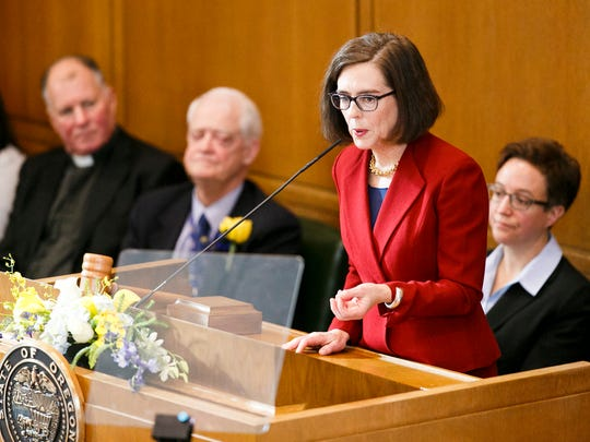 Gov. Kate Brown delivers her inaugural address on Monday, Jan. 9, 2017, at the Oregon State Capitol.