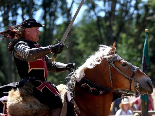 Thomas Montgomery, of Norco, Calif., rides Nala, a
