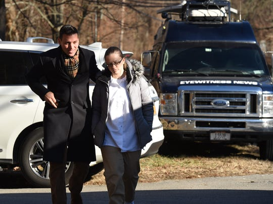 Angelika Graswald walks towards the press outside of Bedford Hills Correctional Facility with her lawyer Richard Portale.