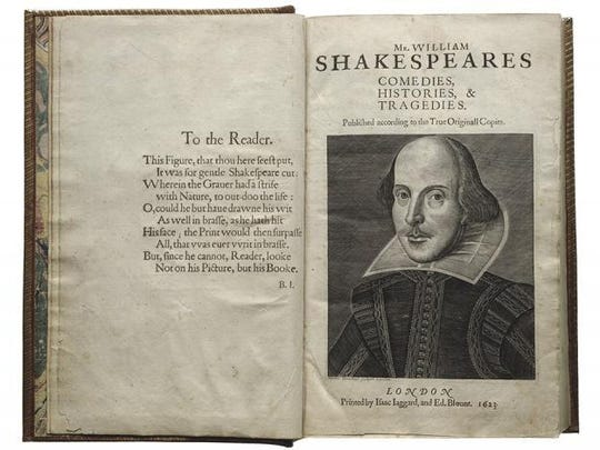The title page of The First Folio, published in 1623,
