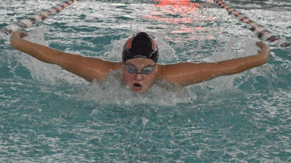 Northern Highlands swimmer Madison Eufer competes in the butterfly against NV/Demarest.