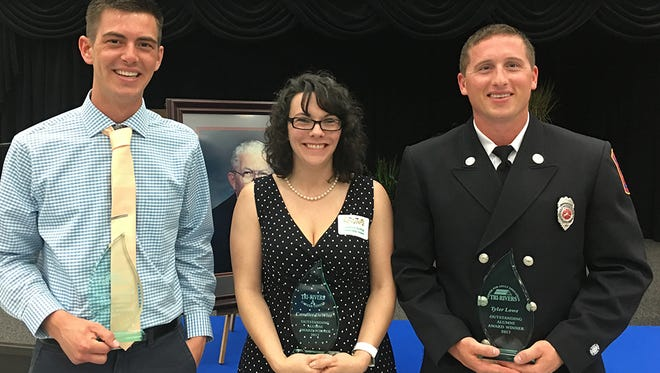 2017 Outstanding Tri-Rivers Alumni, from left, include Logan Mitchell, Candice DeWitt and Tyler Lowe.