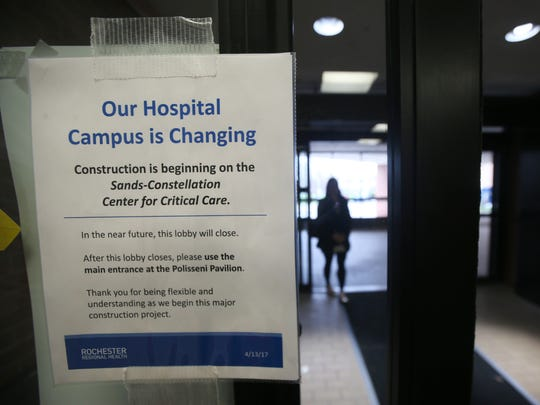 A sign in the old main entrance alerts visitors to construction at Rochester General Hospital on April 19, 2017.