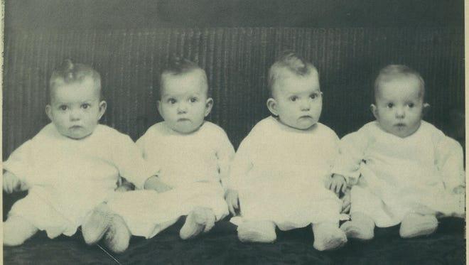 Morlok quads. Edna A., left, Wilma B., Sarah C. and Helen D., undated photo.