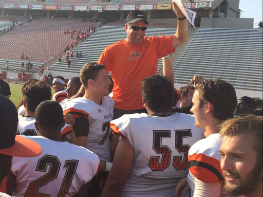 Ventura College football coach Steve Mooshagian was voted SCFA Northern Conference Coach of the Year for the third time in five seasons.