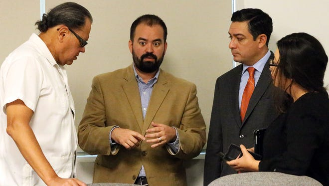 State Rep. Joe Moody, second from left, and fellow El Paso state legislators gather to talk after a recent Transportation Policy Board meeting for the El Paso Metropolitan Planning Organization in Downtown El Paso. Other El Paso lawmakers from left are state Sen. José Rodríguez, state Rep. César Blanco and state Rep. Mary González.