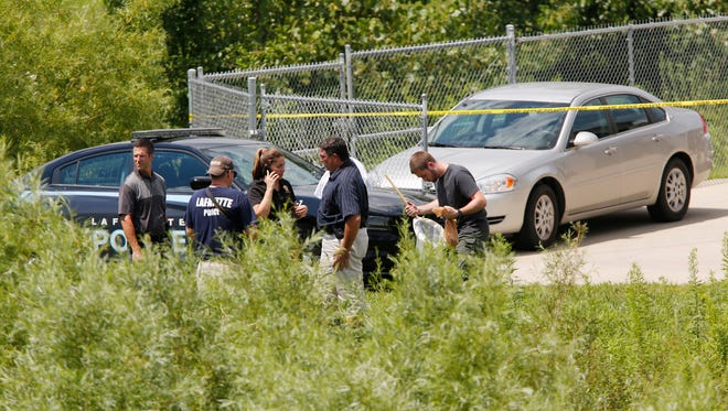 following the discovery of a body found in a drainage  ditch Monday, July 31, 2017, behind Promenade Self Storage, 3700 Promenade Parkway on the south side of Lafayette.