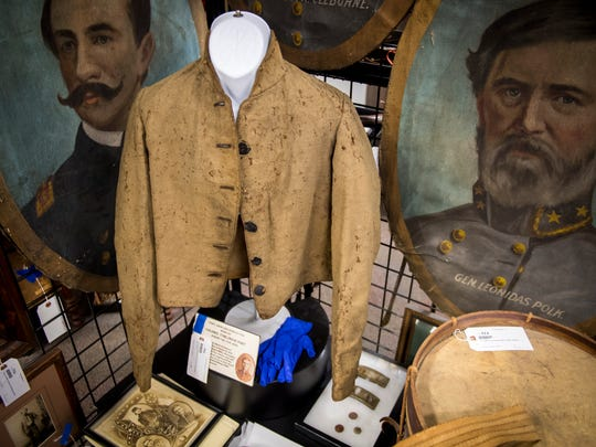 Confederate shell jacket at Case Antiques. Case Antiques is hosting its first auction in their newly expanded gallery headquarters located at 4310 Papermill Drive on July 14, 2018.