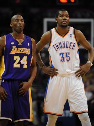 Thunder forward Kevin Durant and Lakers guard Kobe Bryant have a long history.
