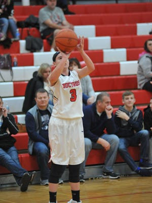 Caleigh Rister shoots a 3-pointer.