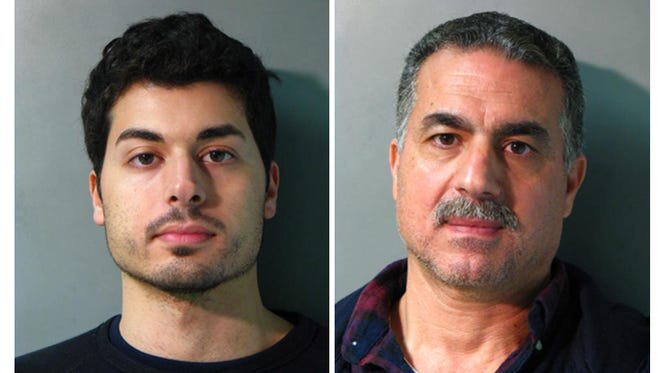 In this combination of two undated photos provided by the Nassau County Police Department in Mineola, N.Y., Karim Jaghab, left, and his father, Nabil Jaghab are shown.