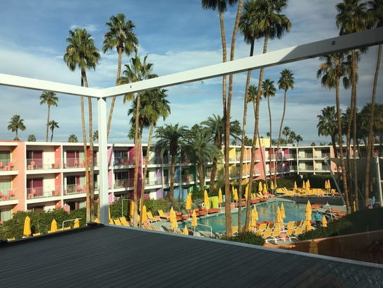 The view of The Saguaro Hotel's grounds and pool from
