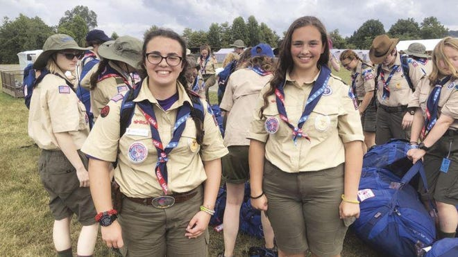 Bridget Brady, at left, is working toward her Eagle Scout rank.