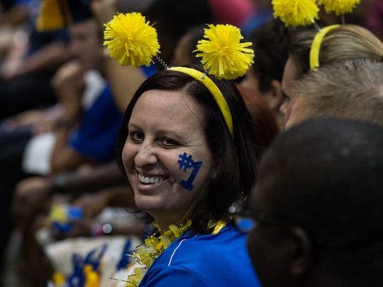 Wi-Hi guidance counselor Amy Rhodes wears school colors during an opening ceremony for Wicomico County Public Schools at the Civic Center on Thursday, Aug. 31, 2017.