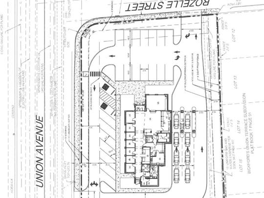 Site plan for proposed Pinnacle Bank branch.