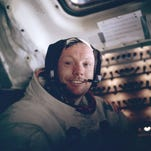 Neil Armstrong inside the lunar lander after his historic first steps on the moon on July 20, 1969.
