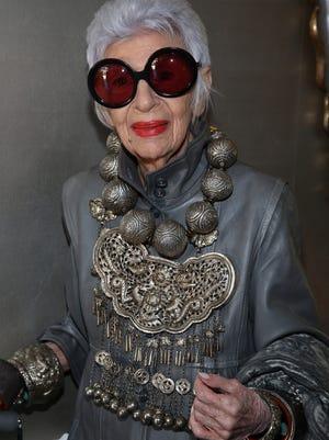 Iris Apfel attends VIOLET GREY's She's So Violet Garden Tea honoring Iris Apfel on April 27, 2015 in Los Angeles, California.