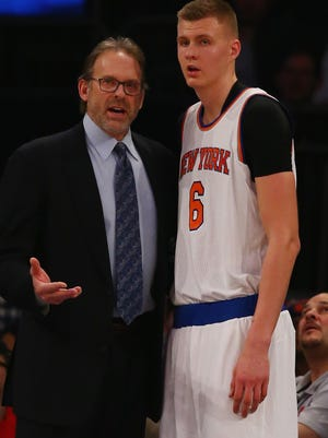 Kurt Rambis and rookie Kristaps Porzingis #6 work well together for the New York Knicks.