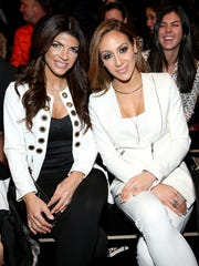 Teresa Giudice (L) and Melissa Gorga attend the Rookie USA Presents Kids Rock! Fall 2016 fashion show in New York  on Feb. 11.
