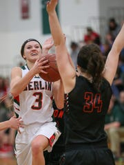 Julia Silloway (3) of Berlin is the ECC's leading scorer. Her brother Nate is a big reason why she started playing basketball.