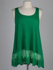 This green tank top with an adorable lace bottom can help you stand out at any St. Patrick's Day party. $32 at General Eccentric, 1600 Bardstown Road