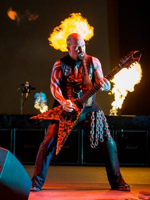 Kerry King of Slayer performed during the 2015 Rockstar Energy Drink Mayhem Festival in California. The thrash-metal group is set to perform in El Paso next year.