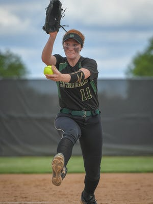 Oshkosh North fires a pitch to the plate during Thursday's WIAA Division 1 sectional final against Kaukauna.