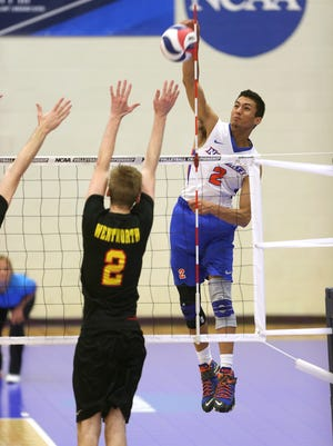 Anthony Bonilla, a New Paltz native, spikes the ball for SUNY New Paltz in an April 22 game against Wentworth.