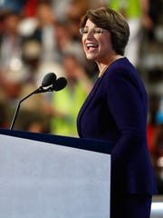 Sen. Amy Klobuchar, D-Minn., delivers remarks on the