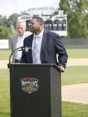 George Koonce of Marian University talks about the announcment of the Timber Rattlers partnership with Marian University to bring a new Northwoods League baseball franchise to Fond du Lac for the 2017 season. Doug Raflik/USA TODAY NETWORK
