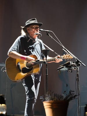 Neil Young performs on the second weekend of Desert Trip, Sat. October 15, 2016.