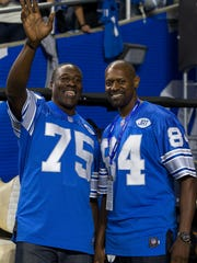 Former tackle Lomas Brown, left, and former receiver