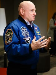 Scott Kelly speaks to reporters at the first Desert
