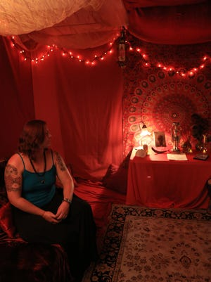 Gypsy Jean sits in the Rent Tent at Gypsy's Corner on Main Street in Cedar City.