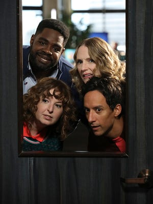 Clockwise, Ron Funches as Ron, Christina Kirk as Jackie, Danny Pudi as Teddy and Jennei Pierson as Wendy are four of the oddball employees of Wayne Security.
