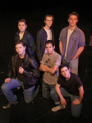 """Starring in """"The Outsiders"""" at What A Do Theatre is, from left to right starting in the back row: Hunter King, Derek Whitesell and Mike VanVleet. In the front row: Christian Perez, Darius Walker and Nick Wheeler."""