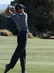 Jack Solis tees off in a match against Palm Desert at the Classic Club in Palm Desert, Calif., Tuesday, March 7, 2017.