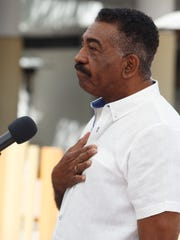 Former Mayor Ron Oden gives an impassioned speech at the Palm Springs Walk of Stars dedication ceremony for designer Michael Costello, Monday, March 20, 2017.