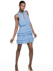 Sky blue dress, Sandro, $470, at Bloomingdale's in