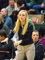 Linn-Mar's head coach and former Iowa standout Jaime Brandt instructs her team against Iowa City West during the first half of play in Iowa City on Friday, January 16, 2015. (Justin Torner/Freelance for the Press-Citizen)