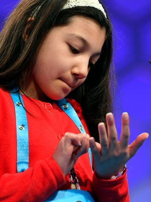 June 1, 2017; National Harbor, MD, USA; Melodie Loya from NY spelled the word subauditur (something understood or implied) incorrectly during the final round of the 2017 Scripps National Spelling Bee at the Gaylord National Resort and Convention Center. Mandatory Credit: Jack Gruber-USA TODAY NETWORK